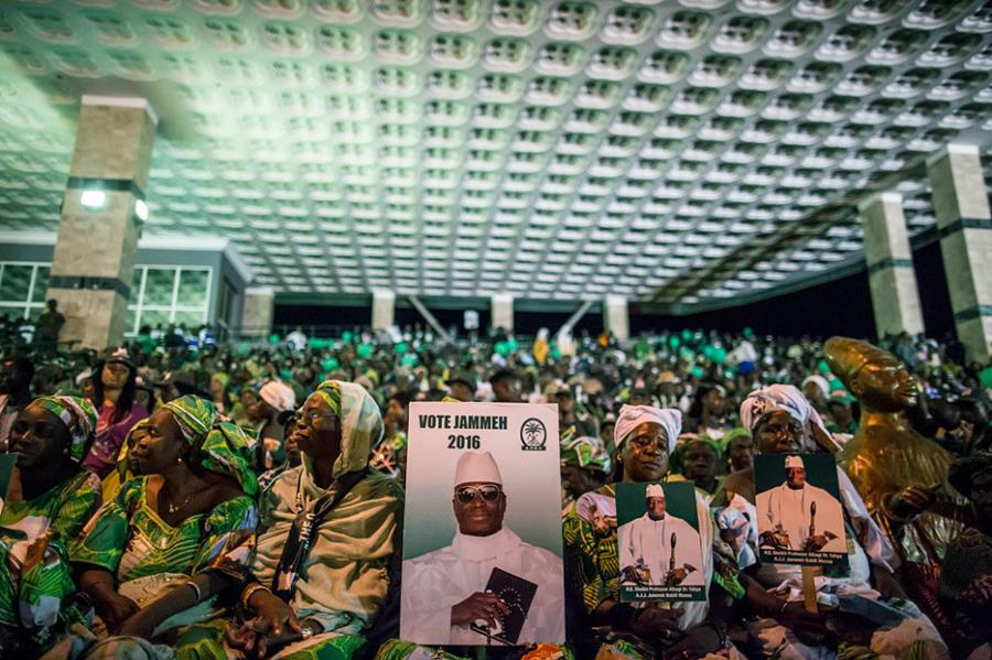Supporters of Gambian President Yahya Jammeh — who has ruled with an iron fist for 22 years.